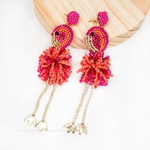 Flamingo Fully Beaded Pink Statement Earrings #57